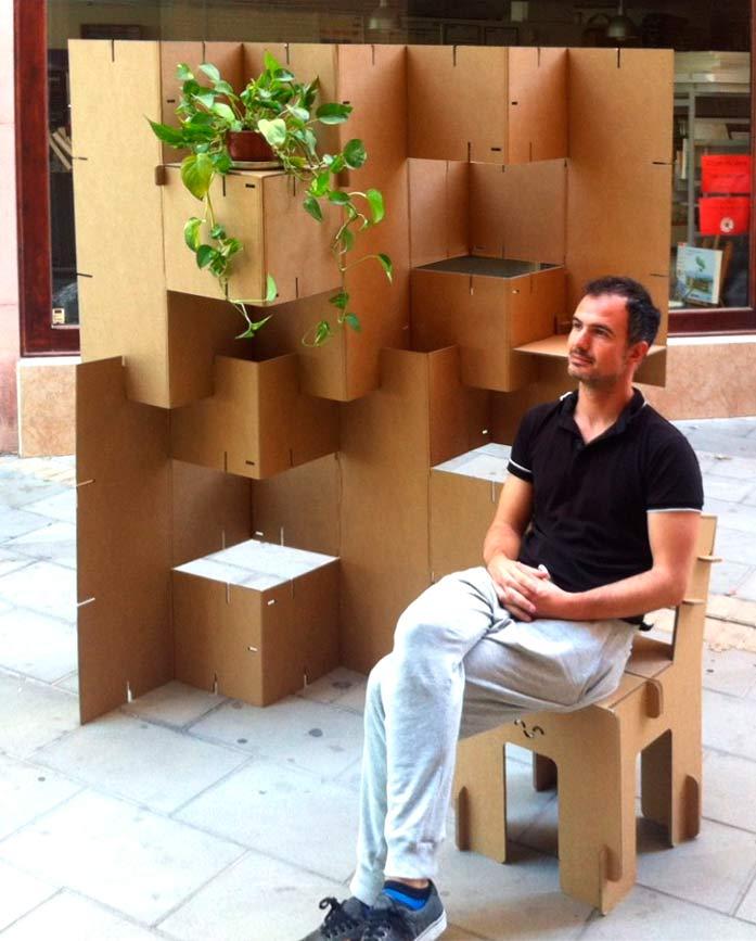 Estanter a de cart n resistente ligera y reciclable - Biombos de carton ...
