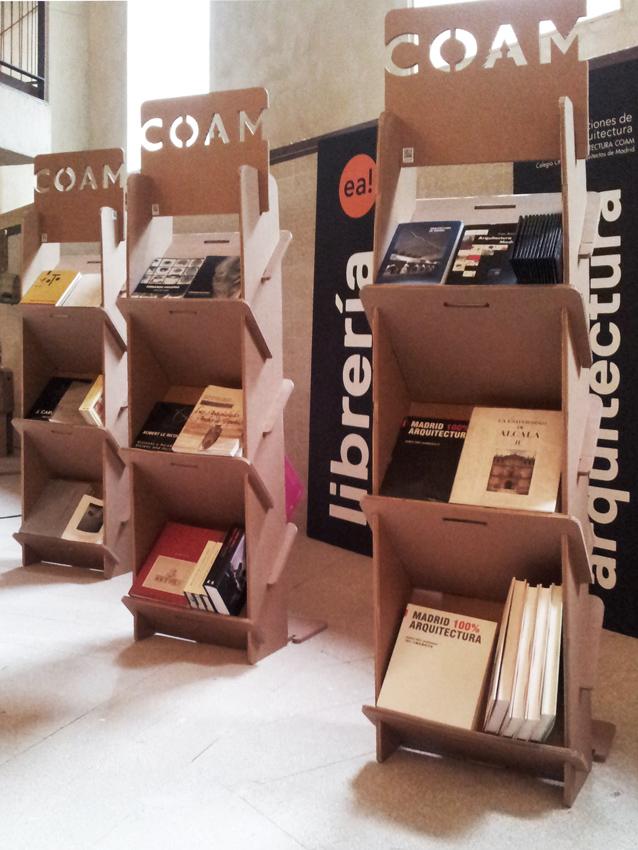 CASA aRTE stand CARTON CARTONLAB coam expositor libros biblioteca revistero portafolletos arquitectura