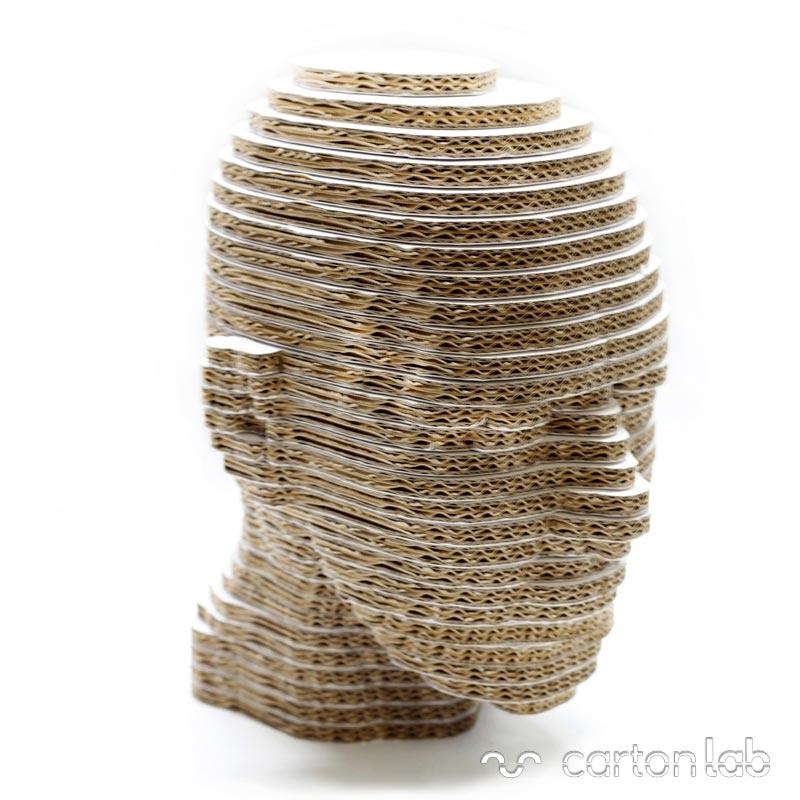 cabeza carton cartonlab cardboard head 3d ideas decoracion rascador gatos escaparate expositor gafas sombreros pelucas