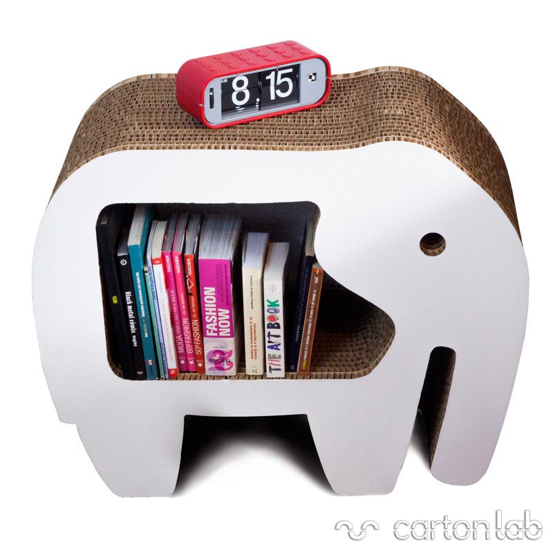 mesita de noche carton elefante cartonlab dormitorio (3b)