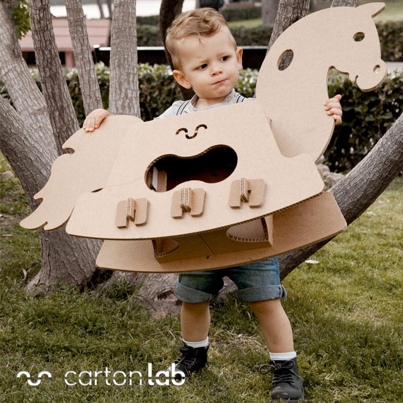 cardboard horse caballo carton caballito balancin rocking horse Cartonlab