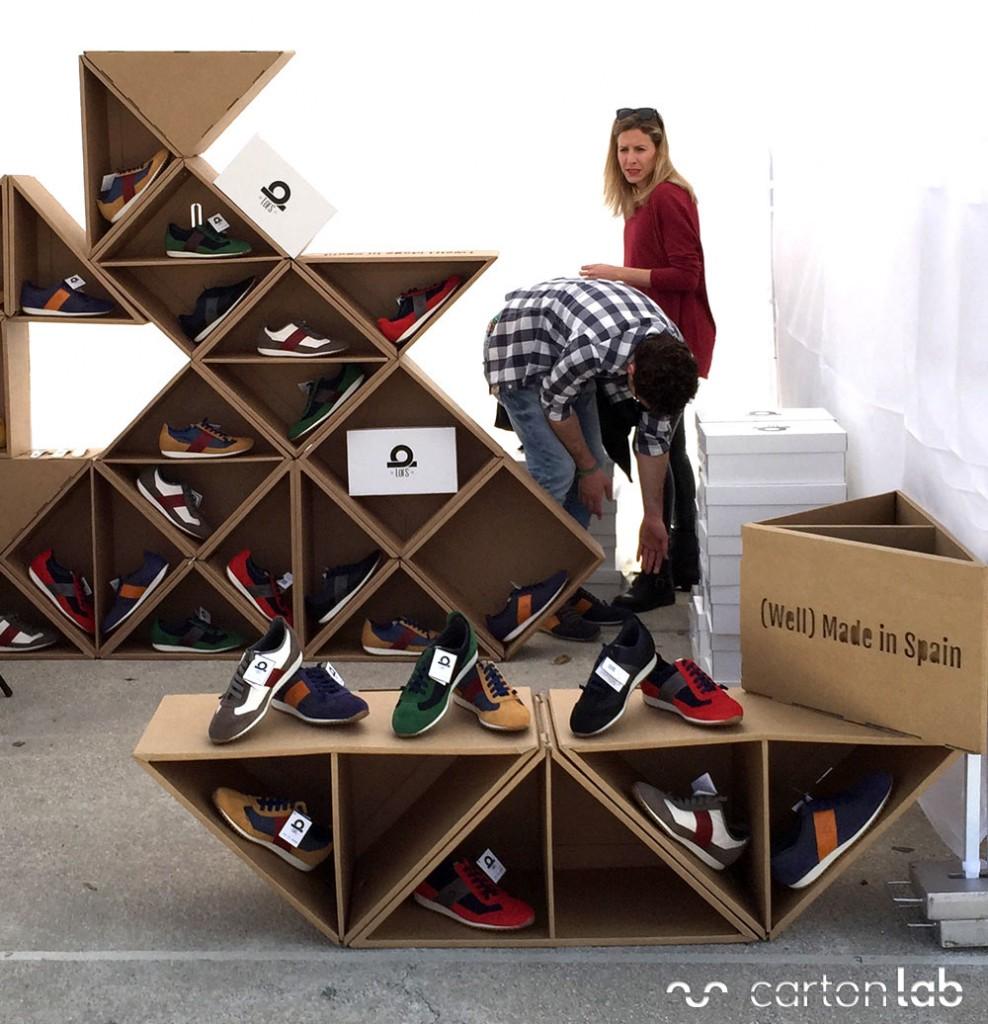 expositor de calzado modular triangulos lofs cartonlab carton (3) expositores modulares