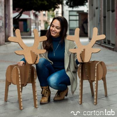renos carton decoracion navidad sostenible cartonlab