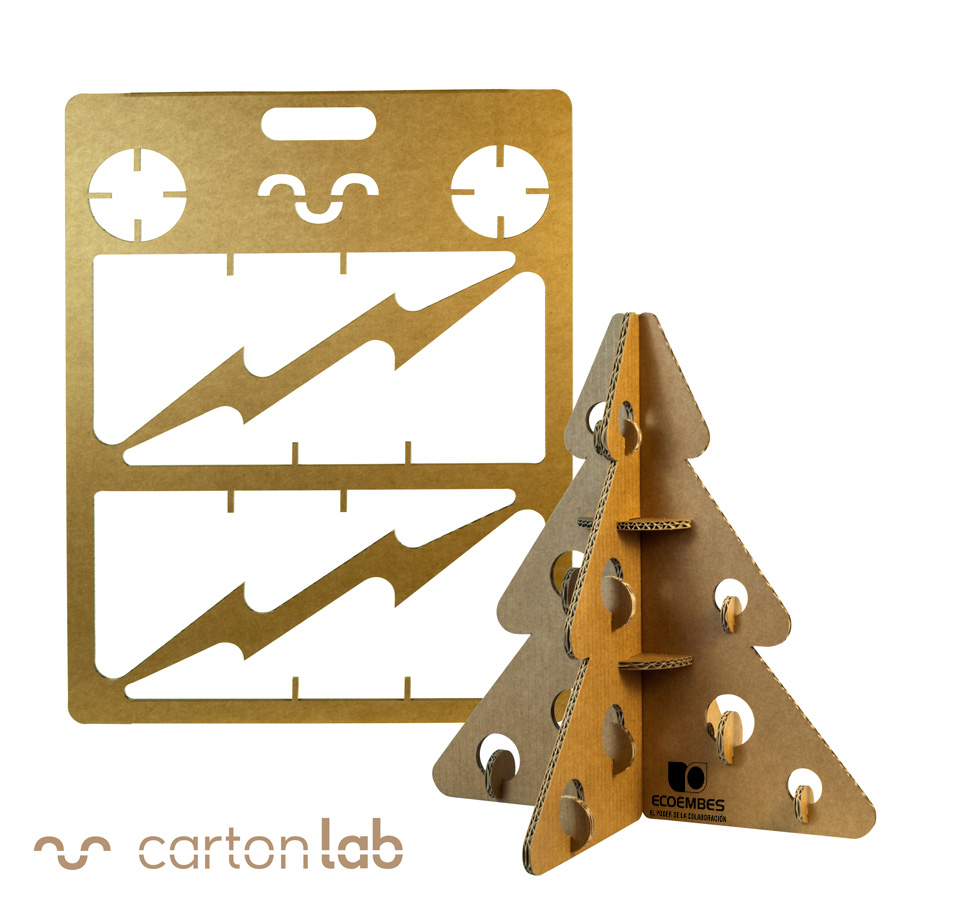 arbol navidad carton regalo ecoembes cartonlab