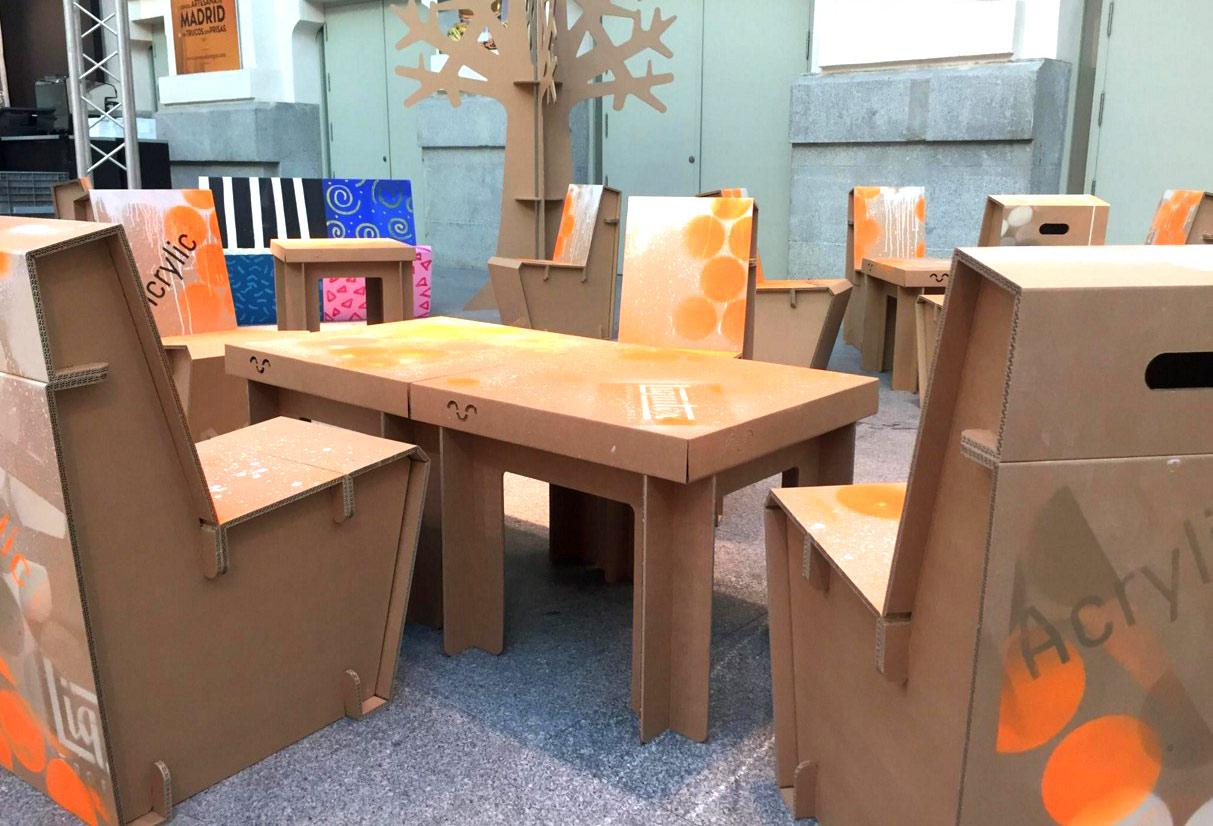 Mesas De Carton Cool Sillas Y Mesas Fabricadas Con Cartn With  # Muebles De Tubos De Carton