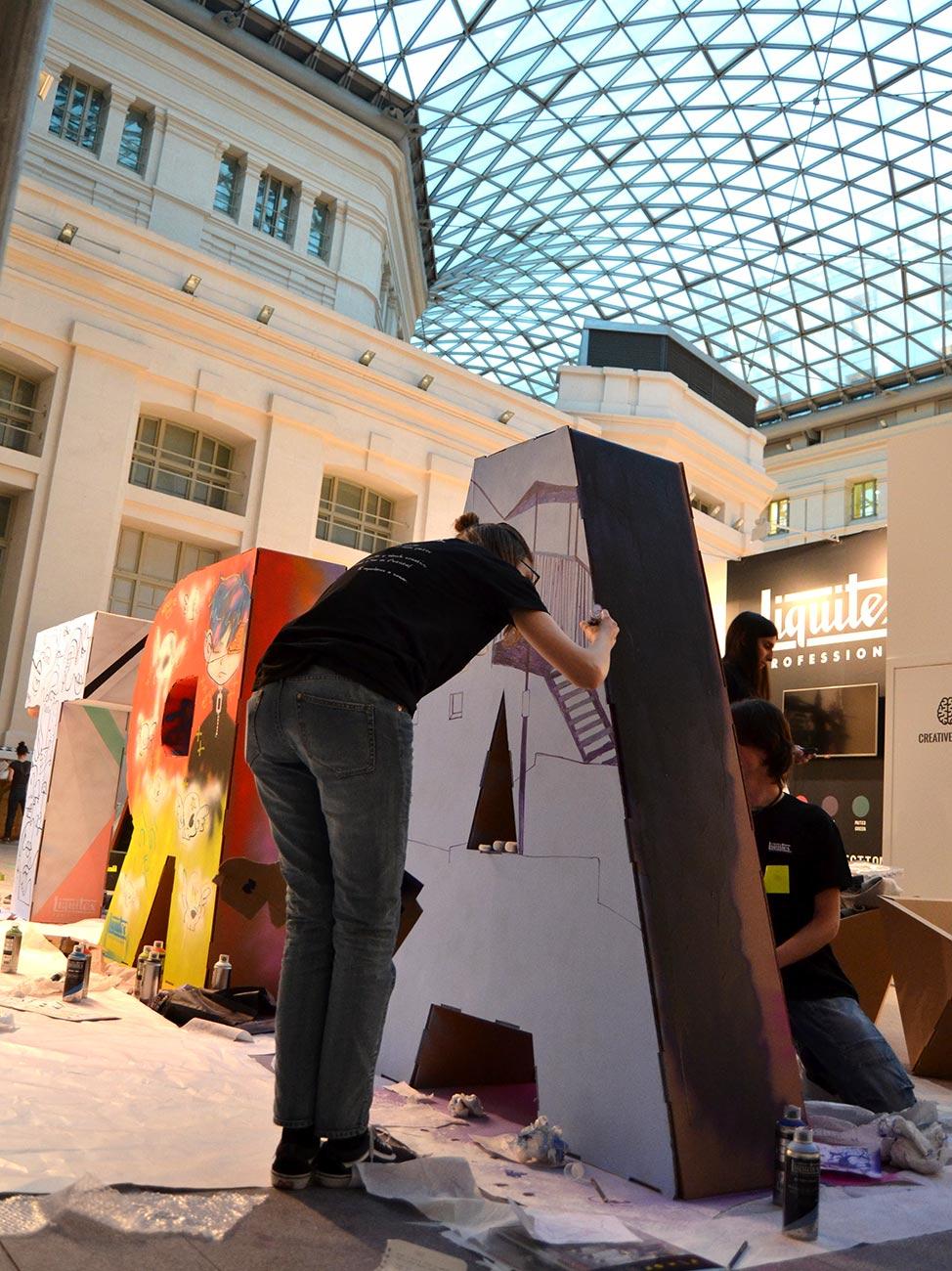 art madrid feria arte letras mobiliario carton corporeos gigantes ied madrid