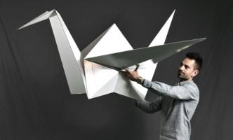 grulla origami carton cartonlab decoracion