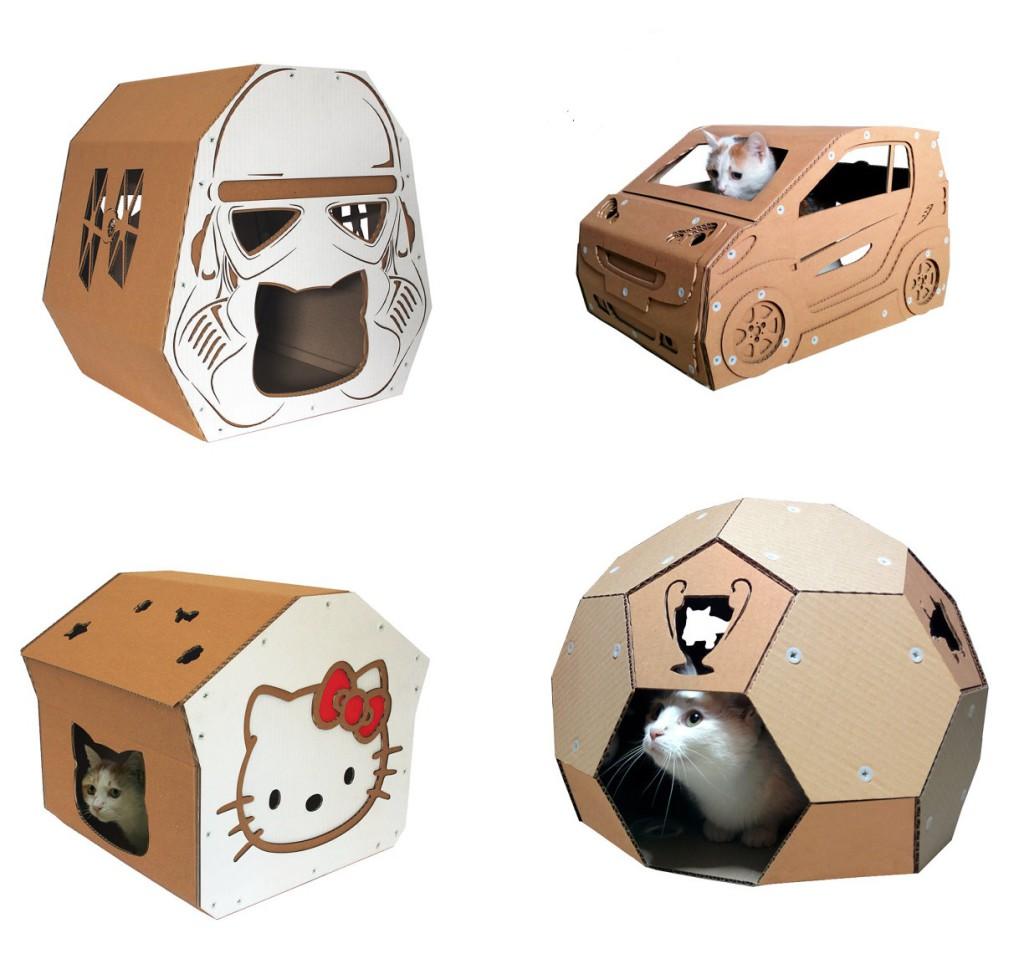 Juguetes para gatos de cart n ecodise o cartonlab - Casas para gatos baratas ...