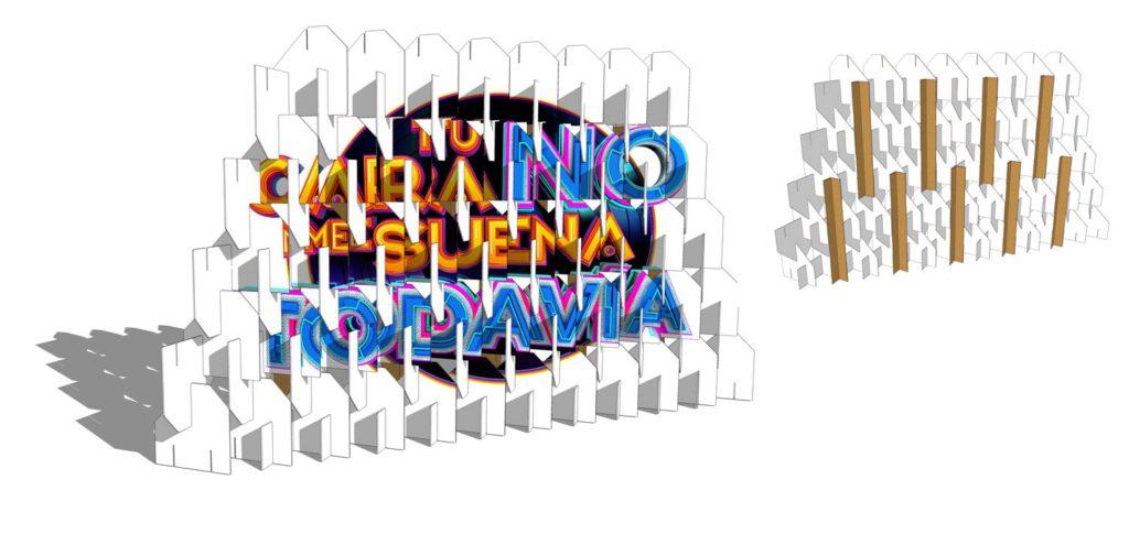 muro biombo carton decorado televisión tcnmst