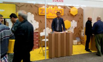 stand feria apicola modular hexagonal carton zukan 01