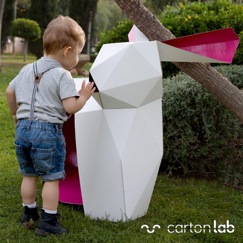 cardboard rabbit origami casitas de cartón originales cartonlab conejito