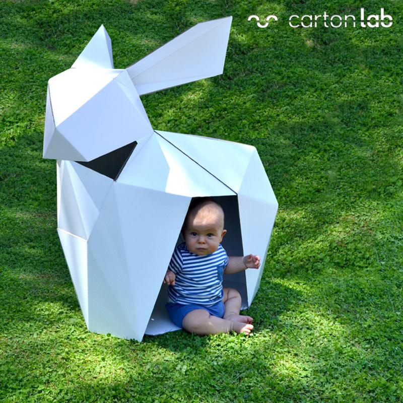 casitas de cartón conejo origami cartonlab