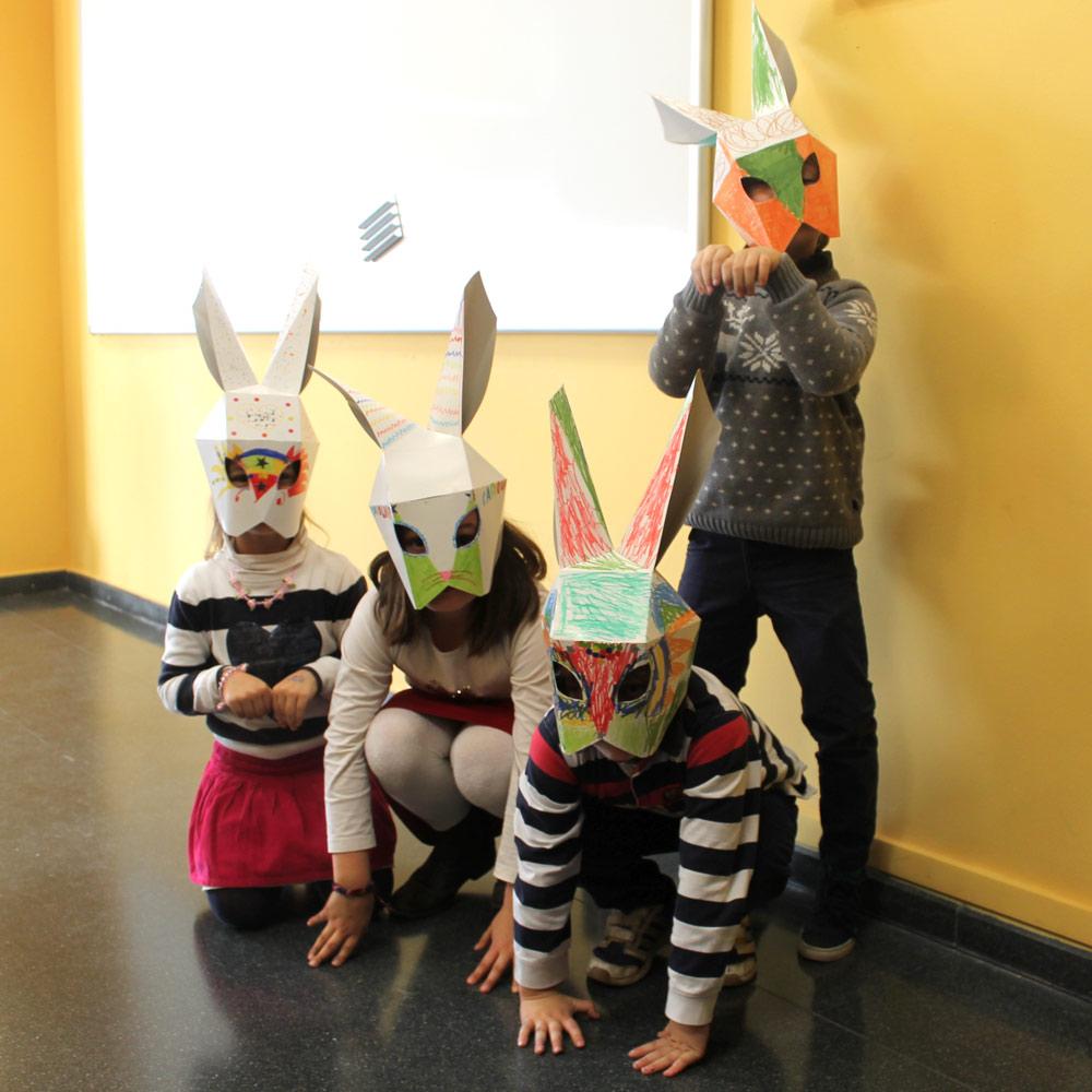 talleres infantiles navideños pozuelo de alarcon estructuras magicas en carton cartonlab mascaras conejo carton 2