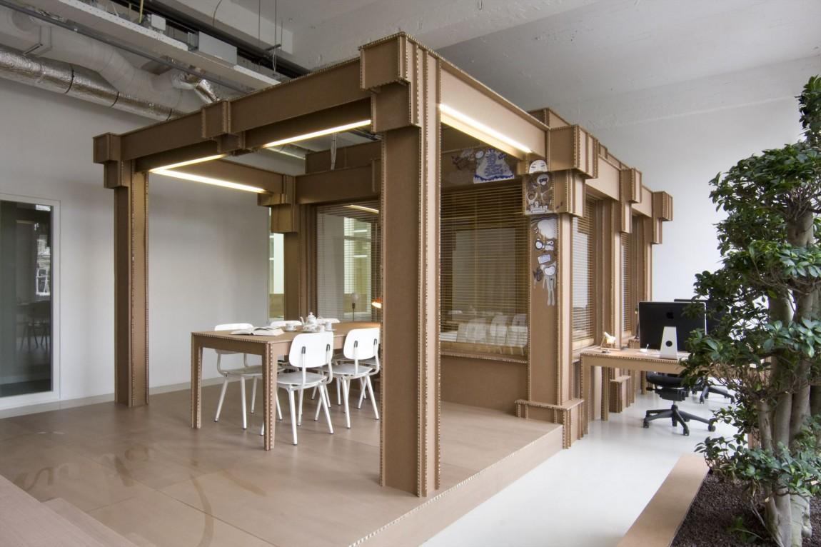 cardboard office nothing amsterdam agency diseño de espacios de trabajo en carton