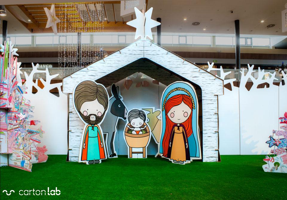 figura carton tamaño real belen decoracion navidad centros comerciales jesus maria jose mula sostenible