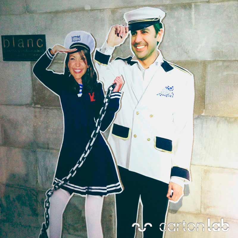 figura carton marinero marinera pareja novios boda recien casados convite fiesta
