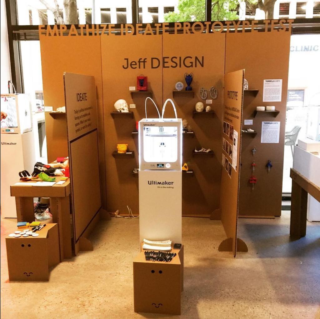 jeffdesign university sxsw booth cardboard