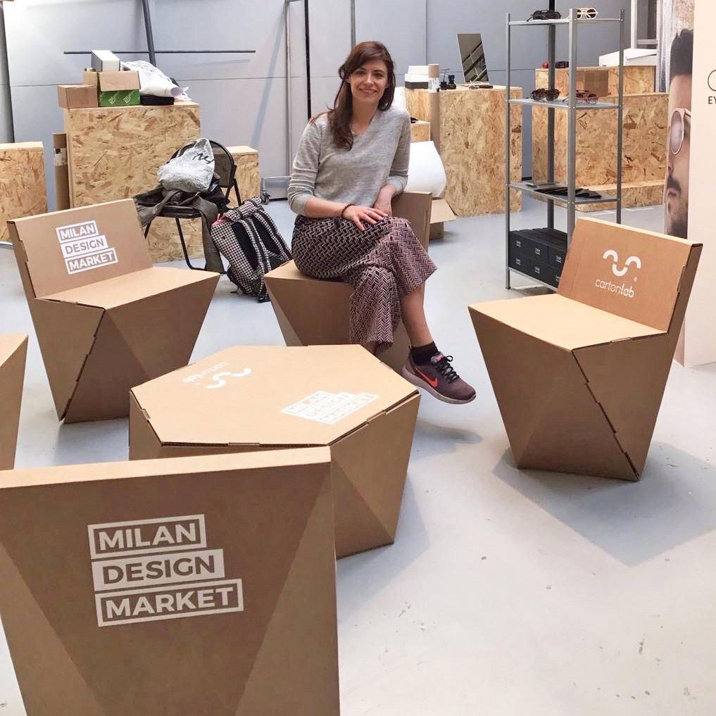 cardboard furniture milan design market