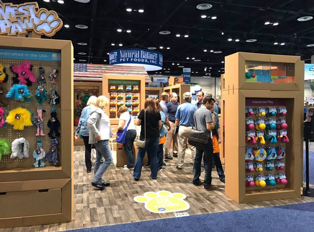 West paw global pet expo cardboard exhibitor display dog cat animals product cartonlab