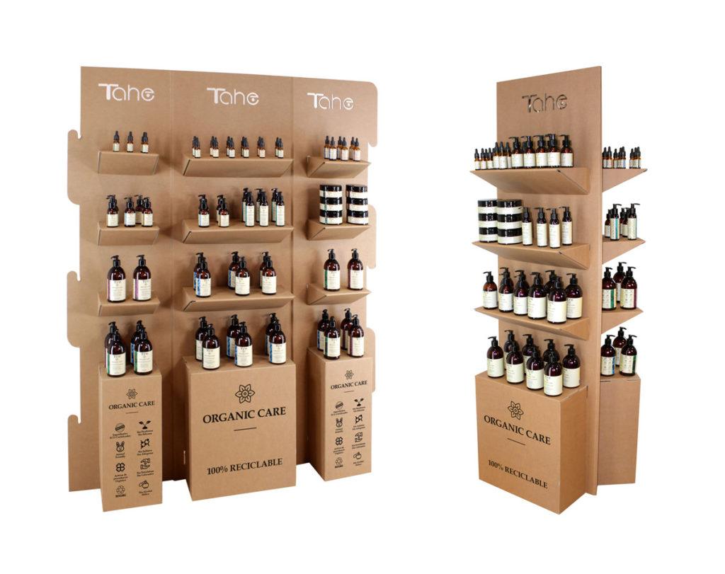 expositor productos de belleza natural cosmetica organica tahe organic care carton diseñado por Cartonlab