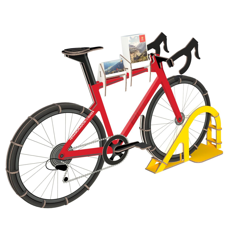 expositor portafolletos porta folletos bicicleta carton gimnasio holmes madrid barcelona oficina turismo suiza 04