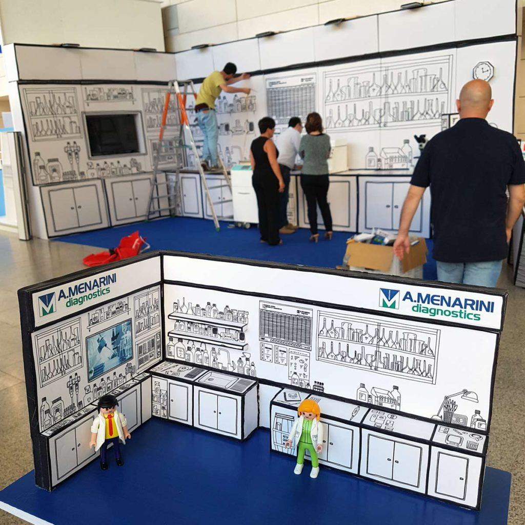 maqueta stand menarini cartonlab seap congresos valencia