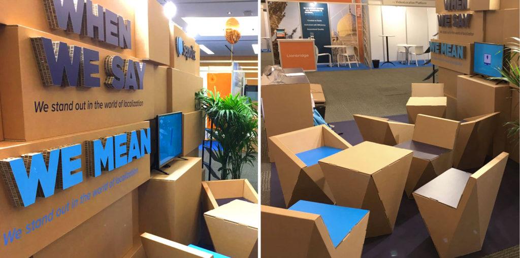stand locworld Barcelona modular carton SeproTec LocWorld 34 congreso traducción y localización diseñado por Cartonlab