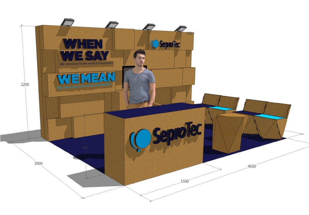 stand locworld Barcelona modular carton SeproTec LocWorld 34 congreso traducción y localización diseñado por Cartonlab 02