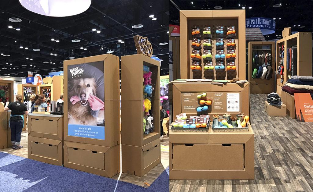 expositores modulares carton animales tienda productos feria exposicion articulos west paw diseñado por Cartonlab