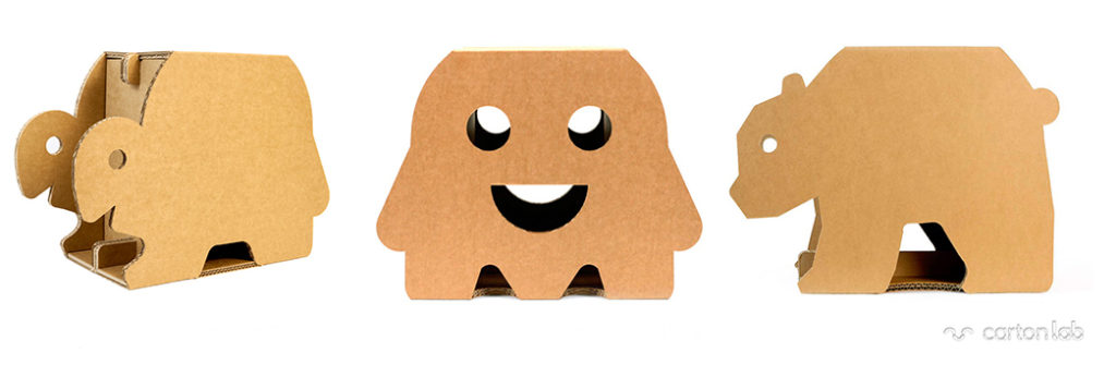 taburetes animales niños infantil tienda animales carton Cartonlab