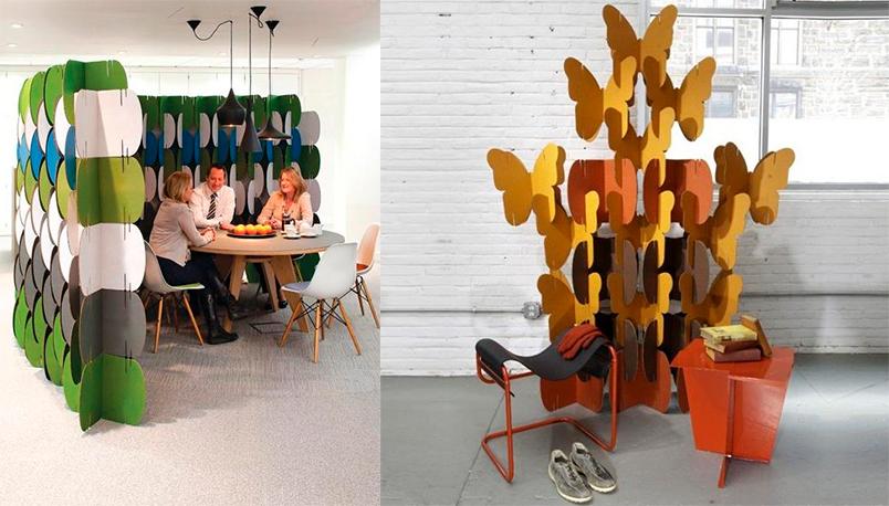 MIO biombos biombo modular modulos carton color colores mariposas separar ambientes espacios oficinas decoracion screen room divider