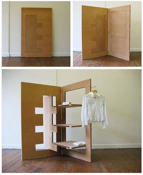 biombo armario perchero doble funcion plegable carton Margaret Van Sicklen