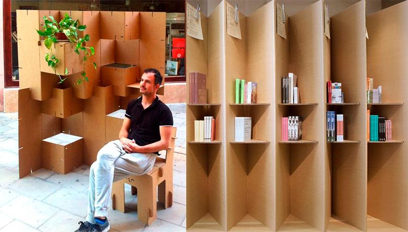 biombos doble funcion estanterias separar espacios ambientes Cartonlab