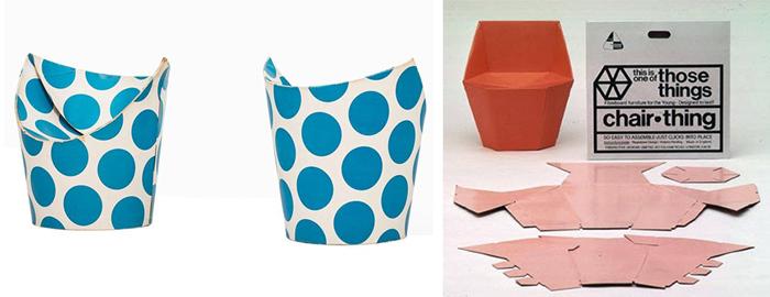 Silla Spotty y Chair thing, diseño en cartón de Murdoch