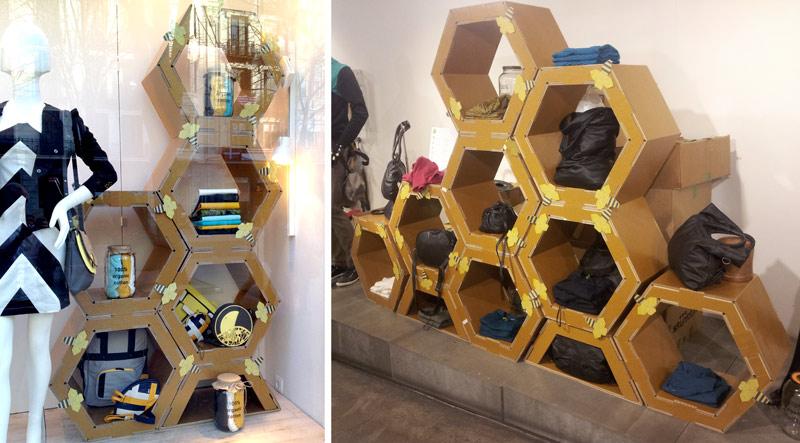escaparatismo comercial creativo atrevido diferente hexagonos cartón abejas skunkfunk moda sostenible comercio ideas cartonlab