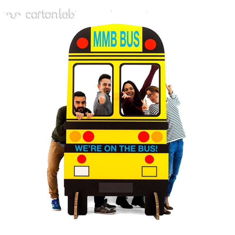 organizacion de eventos sostenibles photocall bus carton cartonlab