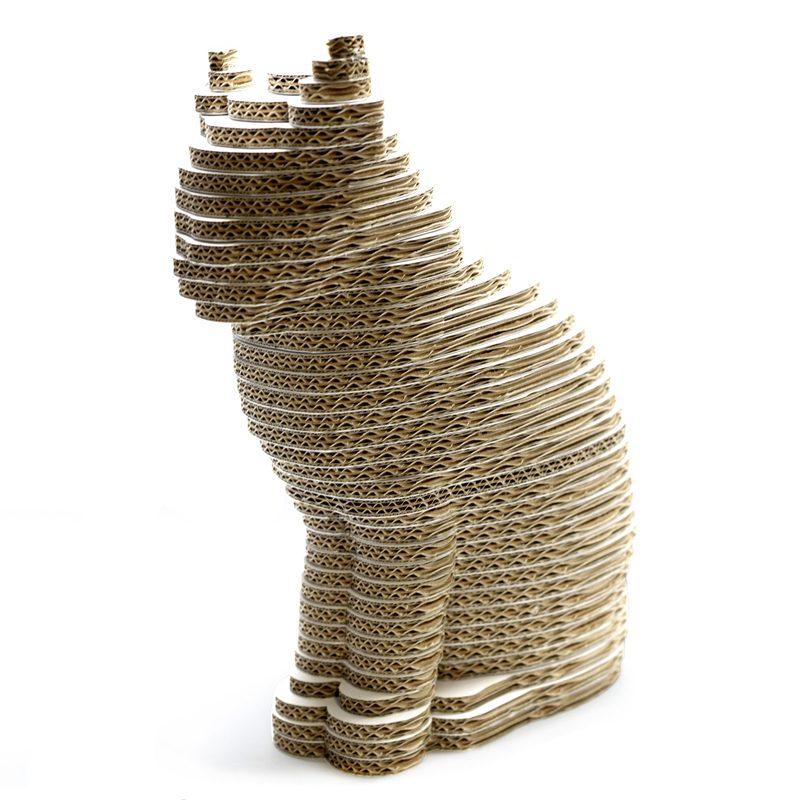 figura gato carton escultura capas 3d cartonlab