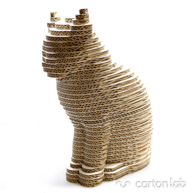 gato carton cartonlab rascador cardboard cat figura 3D (1)