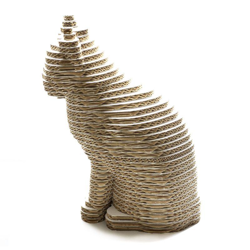 ficticio figura gato escultura 3d carton