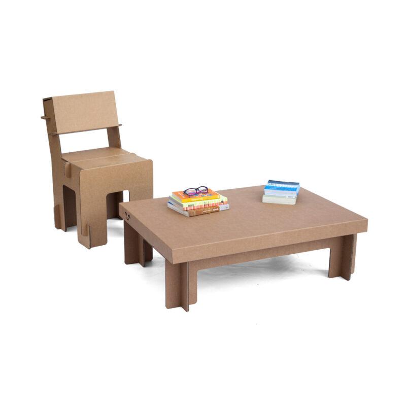 mesa de cartón baja rectangular cartonlab