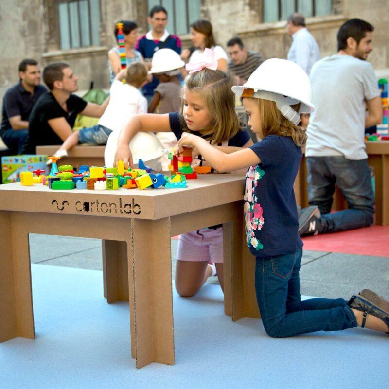 mesa carton cuadrada cartonlab evento infantil