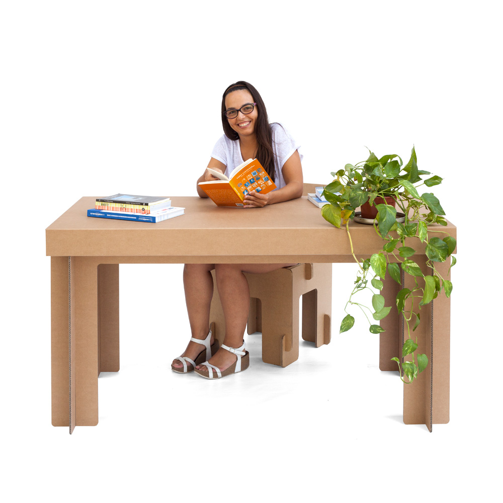 mesa de cartón rectangular resistente escritorio