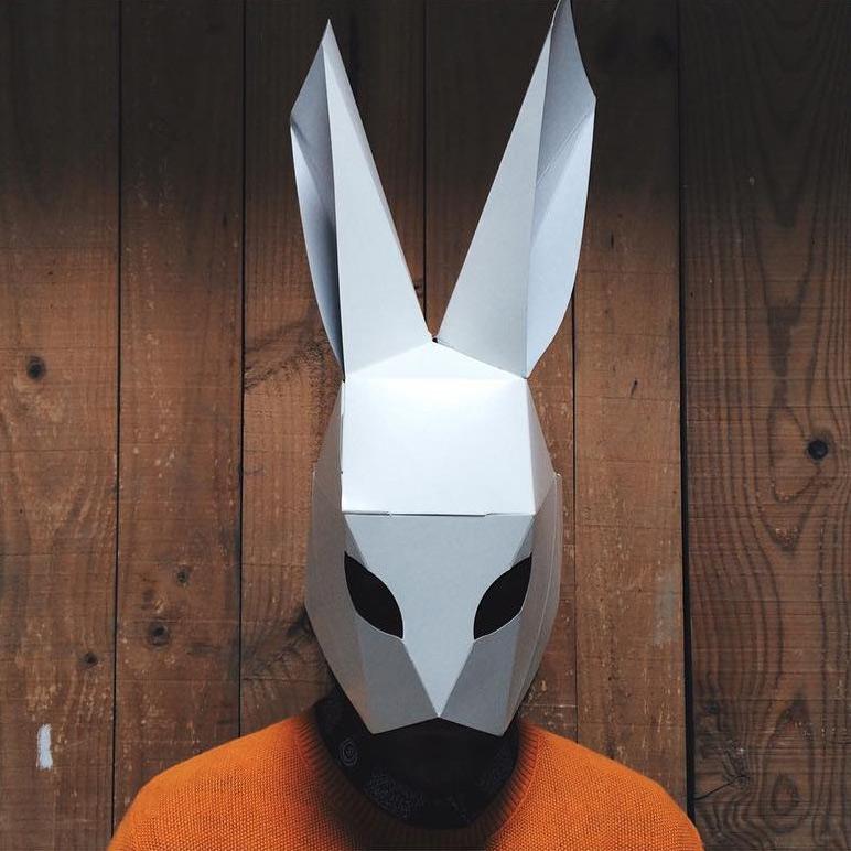 mascara conejo papel origami cartonlab
