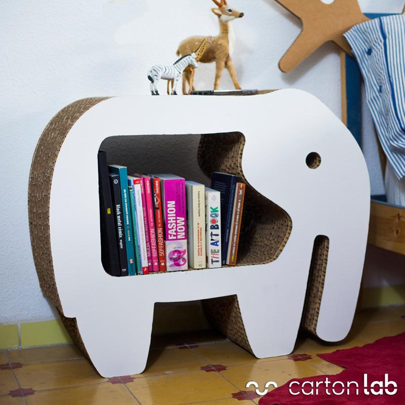 mesita de noche carton elefante cartonlab dormitorio decoracion estanteria tienda animales