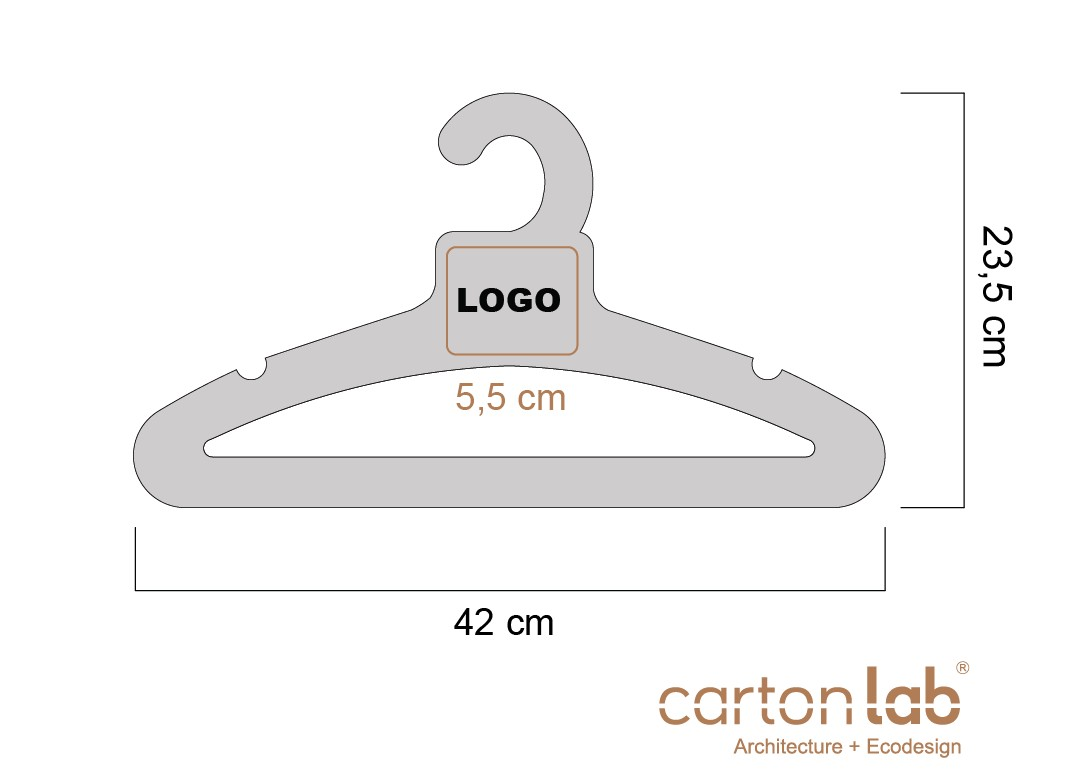 perchas de carton personalizable logo medidas