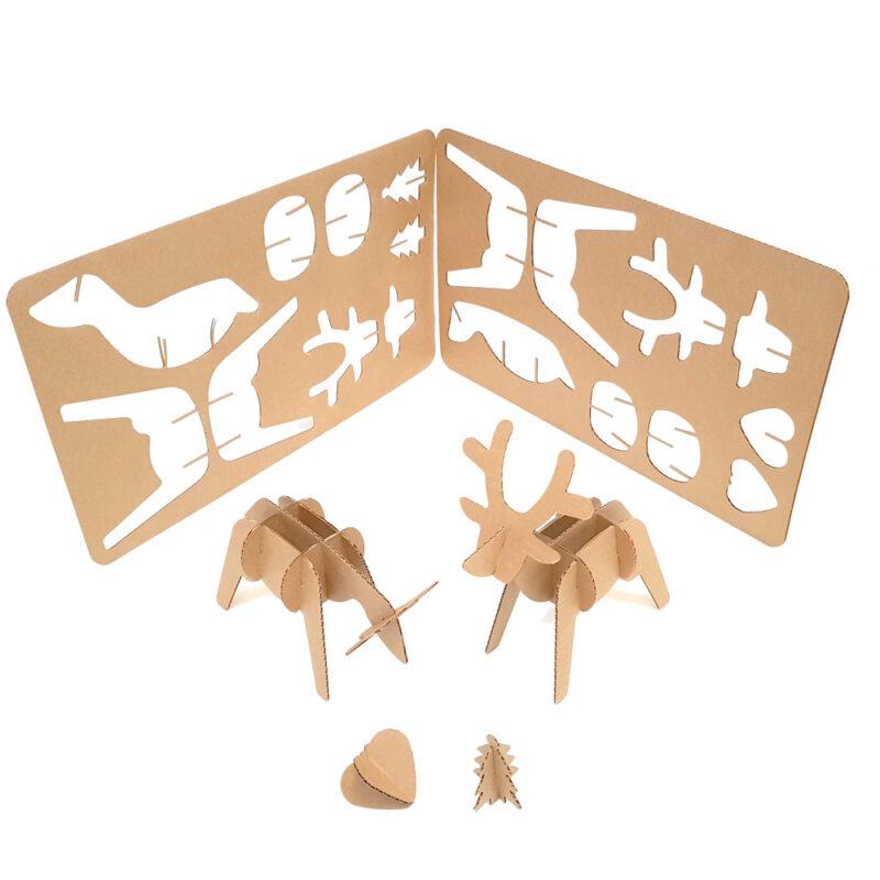 reno de carton decoracion navidad