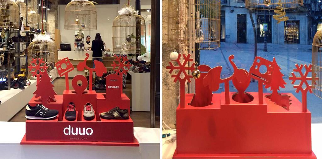 escaparate de navidad duuo expositor zapatos calzado zapatillas decoracion diseño escaparatismo diseñado por Cartonlab