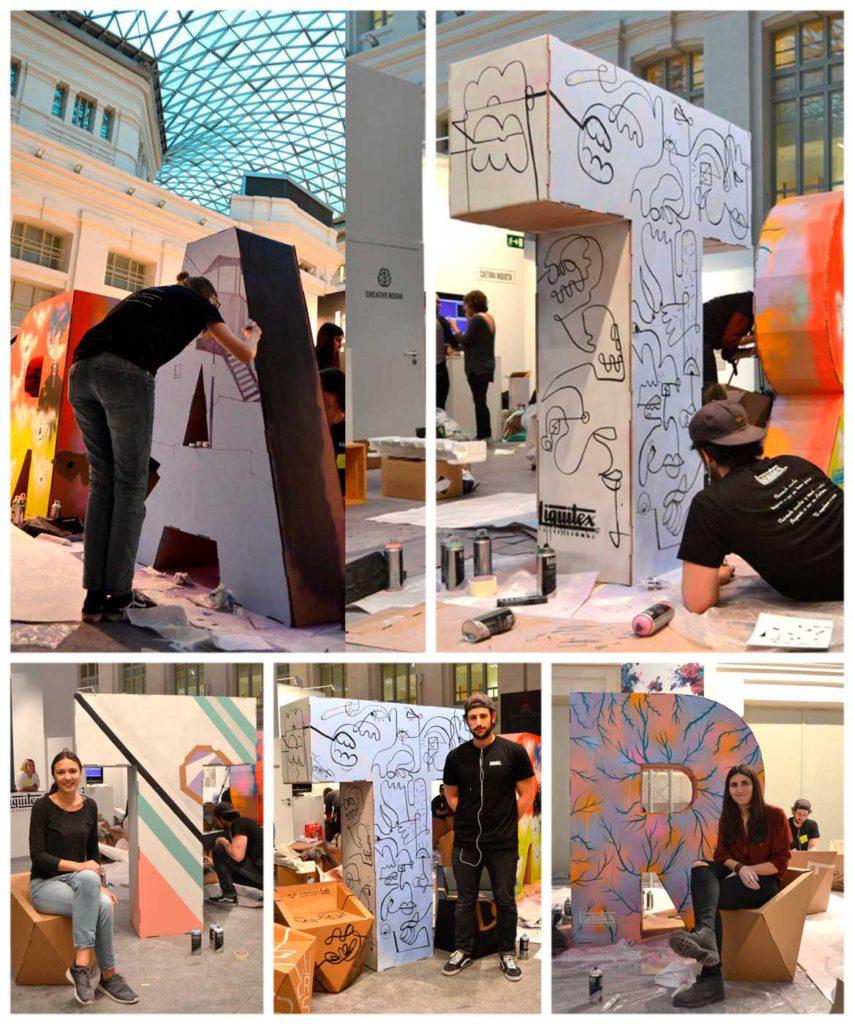 Muebles de cartón para Art Madrid,, letras de cartón personalizadas