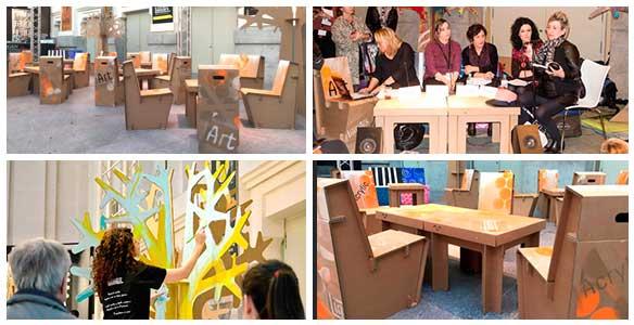 Muebles de cartón para eventos, varios momentos Art Madrid