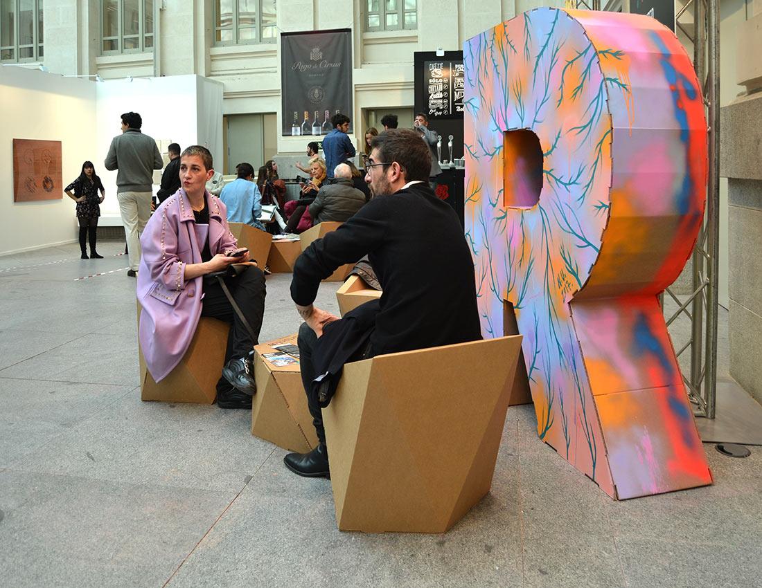 Muebles faceta de cartón para eventos, Art Madrid